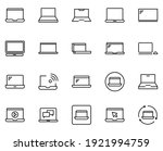 line laptop icon set isolated...