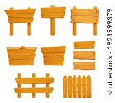 set wooden elements fence ...