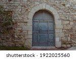 Ancient Wooden Blue Arcade Door ...