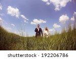 bride and groom having fun in... | Shutterstock . vector #192206786