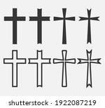 set of christian cross icon...