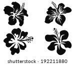 hibiscus vector silhouettes | Shutterstock .eps vector #192211880