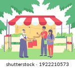 a farmer sells vegetables to a...   Shutterstock .eps vector #1922210573
