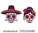 cartoon mexican sugar skulls...   Shutterstock .eps vector #1922235689