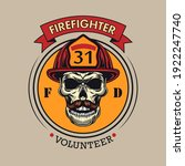 Round Badge With Firefighter...