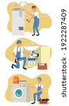 collection of plumbing service... | Shutterstock .eps vector #1922287409