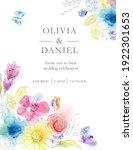 wedding invitation. watercolor ... | Shutterstock . vector #1922301653