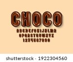 chocolate glossy font  brown... | Shutterstock .eps vector #1922304560