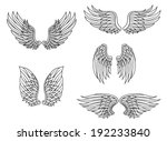 heraldic wings set isolated on... | Shutterstock . vector #192233840