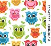 cute owl seamless  | Shutterstock .eps vector #192234728