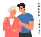 happy adult son hugging old...   Shutterstock .eps vector #1922375123