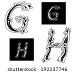 floral capital letters g and h...   Shutterstock . vector #192237746