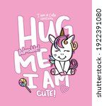 hug me i am cute text and... | Shutterstock .eps vector #1922391080