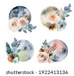 Set Of Watercolor Full Moon In...