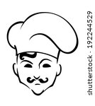 french chef in toque hat in... | Shutterstock . vector #192244529