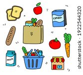 set of food and grocery related ... | Shutterstock .eps vector #1922544320
