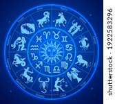 astrology zodiac signs circle.... | Shutterstock .eps vector #1922583296