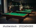 Billiard Table With Green...
