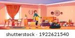 woman clean bedroom in bohemian ... | Shutterstock .eps vector #1922621540