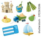 Set Of Colorful Beach Toys For...