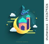 arabic calligraphy of ramadan...   Shutterstock .eps vector #1922679326