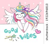 beautiful unicorn with wings... | Shutterstock .eps vector #1922696813