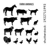 farm animals silhouettes set of ... | Shutterstock .eps vector #1922711993