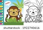 Vector Cartoon Of Funny Monkey...