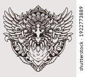 tattoo and t shirt design black ... | Shutterstock .eps vector #1922773889