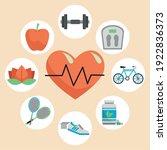 heart cardio with bundle of... | Shutterstock .eps vector #1922836373