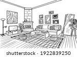 living room interior  coloring... | Shutterstock .eps vector #1922839250