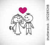 hand drawn wedding couple ... | Shutterstock .eps vector #192285248