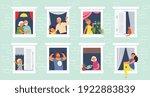 people in windows. home open...   Shutterstock .eps vector #1922883839