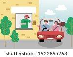 drive thru fast food restaurant.... | Shutterstock .eps vector #1922895263