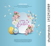 happy easter card with spring... | Shutterstock .eps vector #1922910989