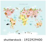 vector map of the world with... | Shutterstock .eps vector #1922929400