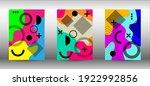 memphis background set covers....   Shutterstock .eps vector #1922992856