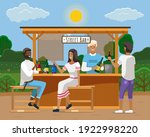 drinking coffee and eating in... | Shutterstock .eps vector #1922998220