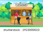 drinking coffee and eating in... | Shutterstock .eps vector #1923000023