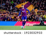 Small photo of BARCELONA - MAR 7: Gerard Pique plays at the La Liga match between FC Barcelona and Real Sociedad de Futbol at the Camp Nou Stadium on March 7, 2020 in Barcelona, Spain.