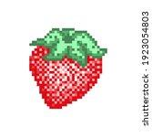 pixel art strawberry icon....   Shutterstock .eps vector #1923054803