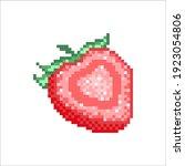 pixel art strawberry cutaway... | Shutterstock .eps vector #1923054806