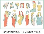 feminine face. single line... | Shutterstock .eps vector #1923057416