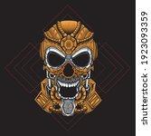 brown mecha skull illustration. ... | Shutterstock .eps vector #1923093359