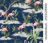 seamless pattern with flamingo... | Shutterstock .eps vector #1923139850