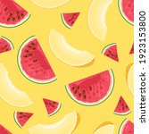 slices of red watermelon and...   Shutterstock .eps vector #1923153800