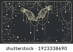 two hands with precious threads ... | Shutterstock .eps vector #1923338690