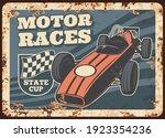 Motor Races Rusty Metal Plate ...