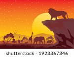 Silhouette Of Sunset In Safari...