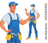 handyman in overalls and tool...   Shutterstock .eps vector #1923369503